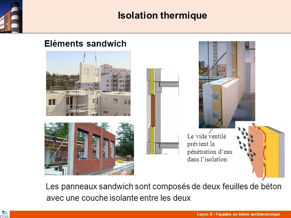 Leçon 8 : Façades en béton architectonique Isolation thermique Eléments sandwich Les panneaux sandwich sont composés de deux feuilles de béton avec une couche isolante entre les deux Le vide ventilé prévient la pénétration deau dans lisolation