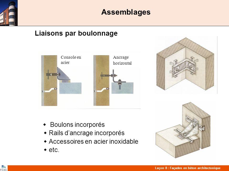 Leçon 8 : Façades en béton architectonique Assemblages Liaisons par boulonnage Boulons incorporés Rails dancrage incorporés Accessoires en acier inoxidable etc.
