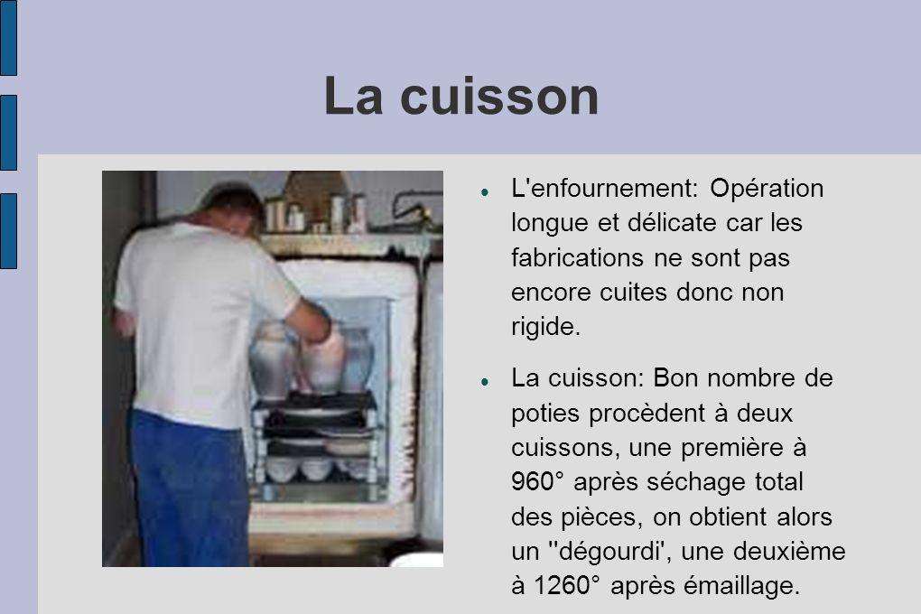 La cuisson L enfournement: Opération longue et délicate car les fabrications ne sont pas encore cuites donc non rigide.