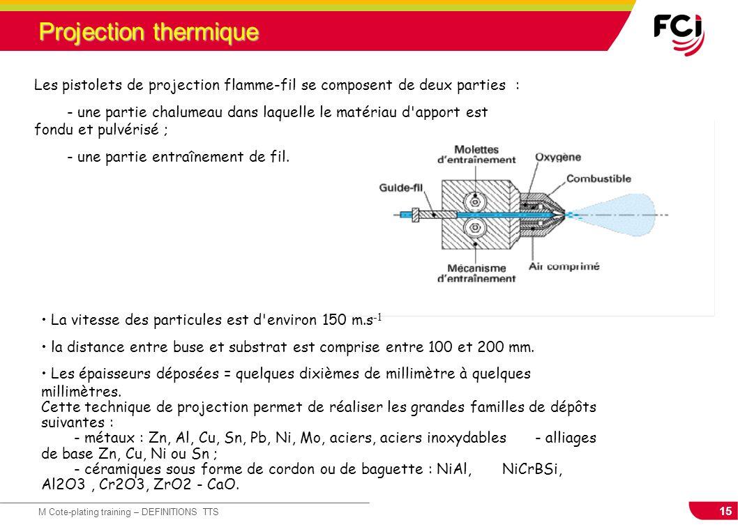 15 M Cote-plating training – DEFINITIONS TTS Projection thermique Les pistolets de projection flamme-fil se composent de deux parties : - une partie c