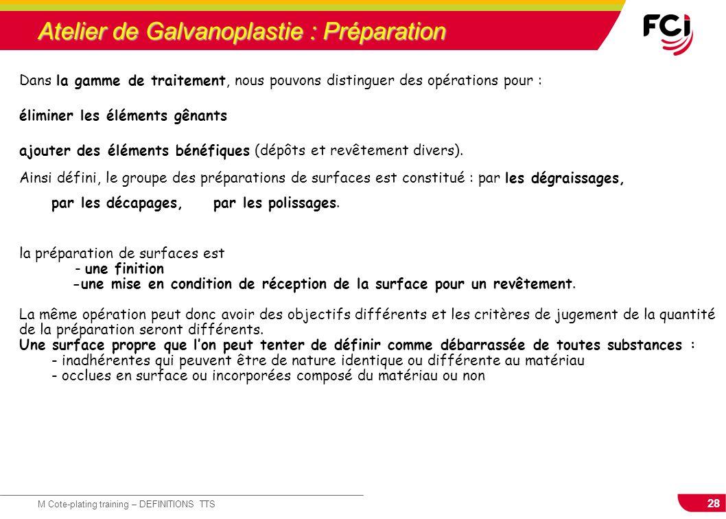 28 M Cote-plating training – DEFINITIONS TTS Atelier de Galvanoplastie : Préparation Dans la gamme de traitement, nous pouvons distinguer des opératio