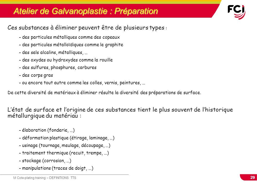 29 M Cote-plating training – DEFINITIONS TTS Atelier de Galvanoplastie : Préparation Ces substances à éliminer peuvent être de plusieurs types : - des