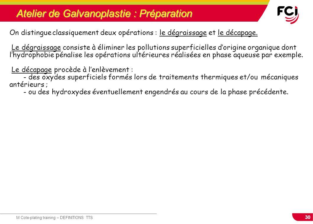 30 M Cote-plating training – DEFINITIONS TTS Atelier de Galvanoplastie : Préparation On distingue classiquement deux opérations : le dégraissage et le