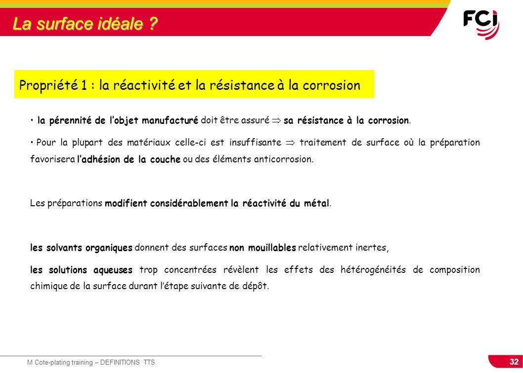 32 M Cote-plating training – DEFINITIONS TTS la pérennité de lobjet manufacturé doit être assuré sa résistance à la corrosion. Pour la plupart des mat