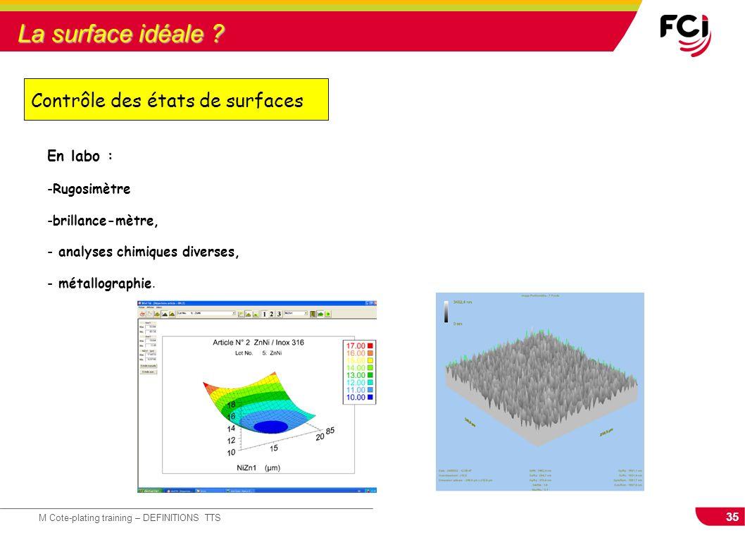 35 M Cote-plating training – DEFINITIONS TTS La surface idéale ? Contrôle des états de surfaces En labo : -Rugosimètre -brillance-mètre, - analyses ch