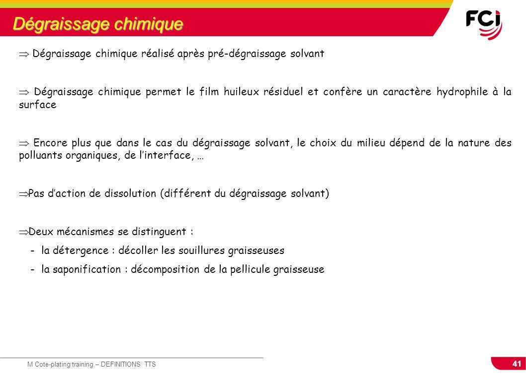 41 M Cote-plating training – DEFINITIONS TTS Dégraissage chimique Dégraissage chimique réalisé après pré-dégraissage solvant Dégraissage chimique perm