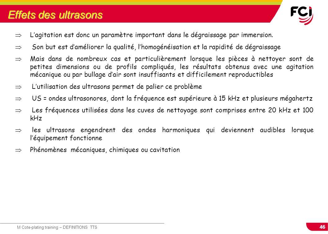 46 M Cote-plating training – DEFINITIONS TTS Effets des ultrasons Lagitation est donc un paramètre important dans le dégraissage par immersion. Son bu