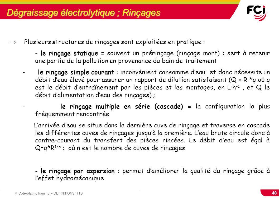 48 M Cote-plating training – DEFINITIONS TTS Dégraissage électrolytique ; Rinçages Plusieurs structures de rinçages sont exploitées en pratique : - le