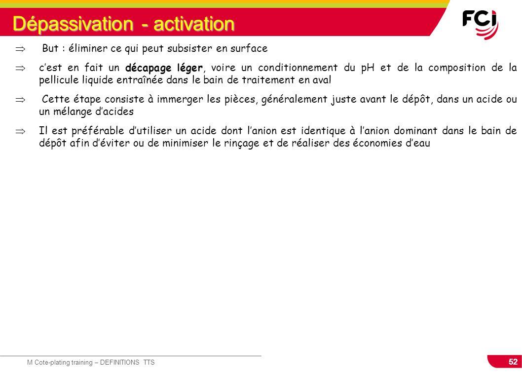 52 M Cote-plating training – DEFINITIONS TTS Dépassivation - activation But : éliminer ce qui peut subsister en surface cest en fait un décapage léger