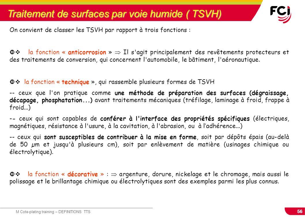 56 M Cote-plating training – DEFINITIONS TTS Traitement de surfaces par voie humide ( TSVH) On convient de classer les TSVH par rapport à trois foncti