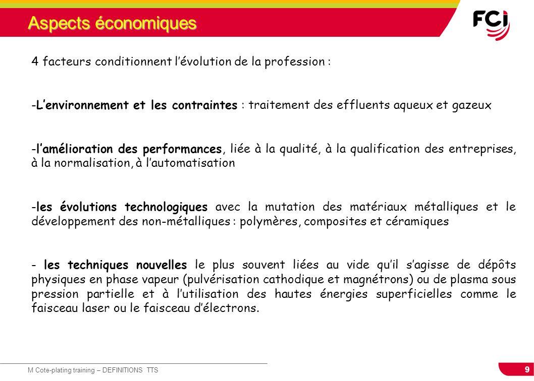 9 M Cote-plating training – DEFINITIONS TTS Aspects économiques 4 facteurs conditionnent lévolution de la profession : -Lenvironnement et les contrain