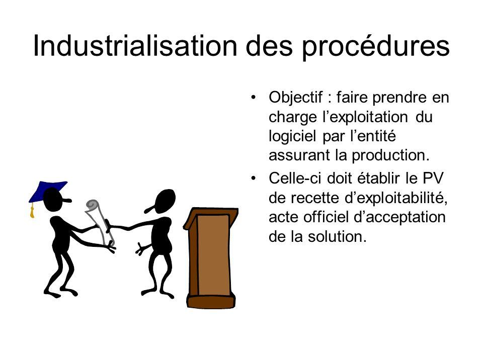 Industrialisation des procédures Objectif : faire prendre en charge lexploitation du logiciel par lentité assurant la production. Celle-ci doit établi