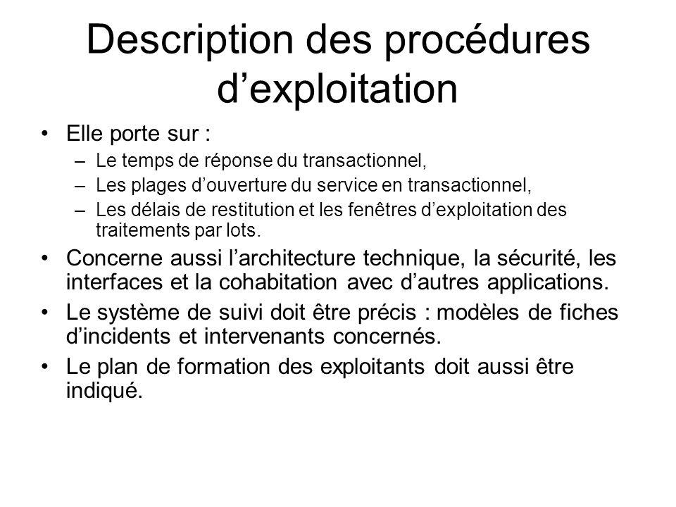 Description des procédures dexploitation Elle porte sur : –Le temps de réponse du transactionnel, –Les plages douverture du service en transactionnel,