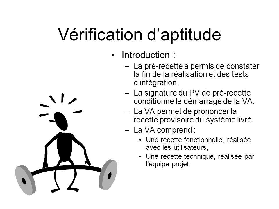 Vérification daptitude Introduction : –La pré-recette a permis de constater la fin de la réalisation et des tests dintégration. –La signature du PV de