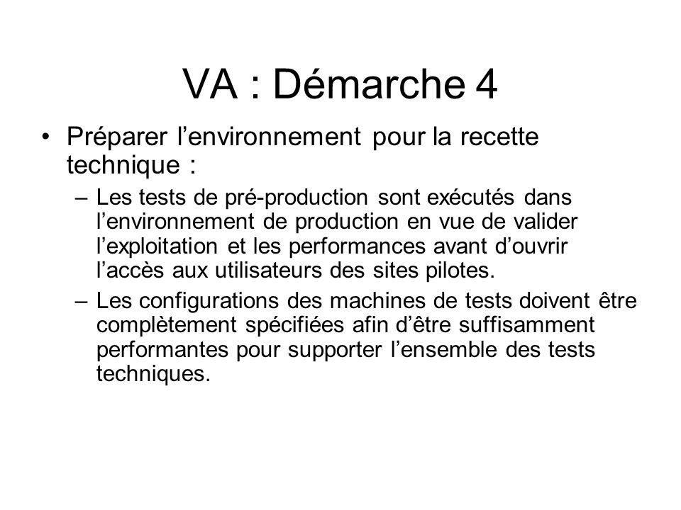 VA : Démarche 4 Préparer lenvironnement pour la recette technique : –Les tests de pré-production sont exécutés dans lenvironnement de production en vue de valider lexploitation et les performances avant douvrir laccès aux utilisateurs des sites pilotes.