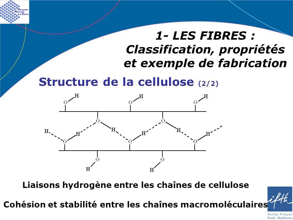 1- LES FIBRES : Classification, propriétés et exemple de fabrication Structure de la cellulose (2/2) Liaisons hydrogène entre les chaînes de cellulose