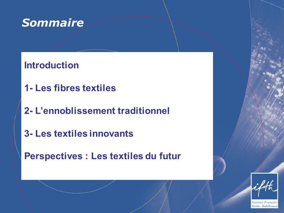 Sommaire Introduction 1- Les fibres textiles 2- Lennoblissement traditionnel 3- Les textiles innovants Perspectives : Les textiles du futur