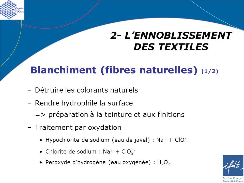 –Détruire les colorants naturels –Rendre hydrophile la surface => préparation à la teinture et aux finitions –Traitement par oxydation Hypochlorite de