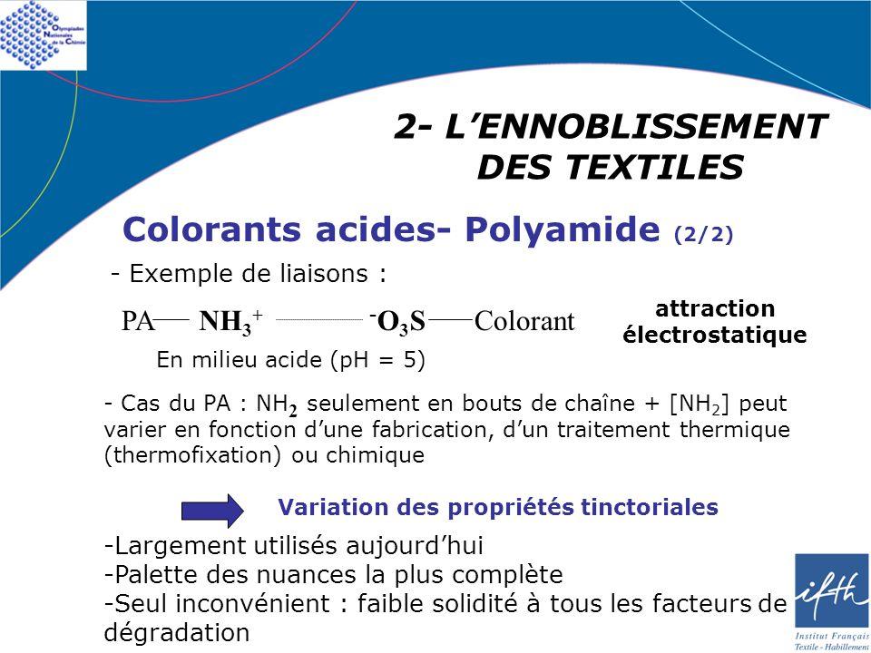 2- LENNOBLISSEMENT DES TEXTILES Colorants acides- Polyamide (2/2) - Cas du PA : NH 2 seulement en bouts de chaîne + [NH 2 ] peut varier en fonction du