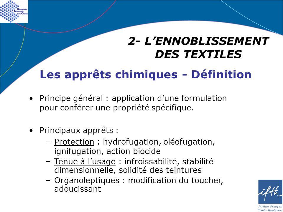 2- LENNOBLISSEMENT DES TEXTILES Les apprêts chimiques - Définition Principe général : application dune formulation pour conférer une propriété spécifi