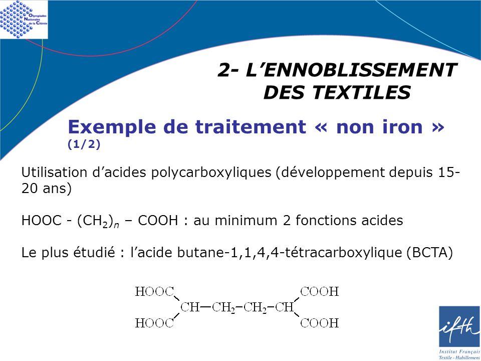 2- LENNOBLISSEMENT DES TEXTILES Exemple de traitement « non iron » (1/2) Utilisation dacides polycarboxyliques (développement depuis 15- 20 ans) HOOC