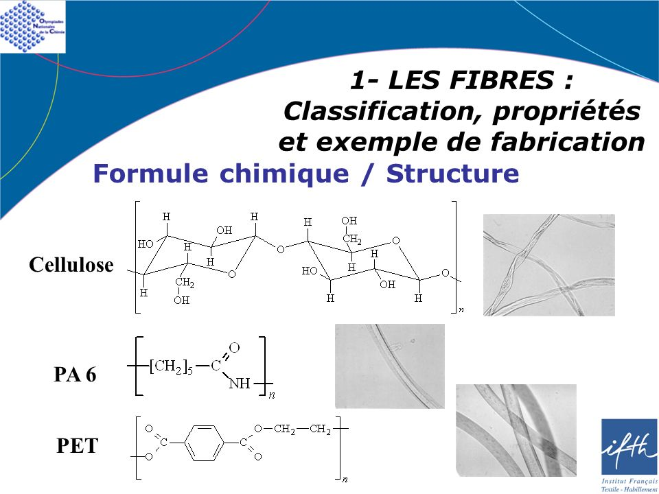 1- LES FIBRES : Classification, propriétés et exemple de fabrication Formule chimique / Structure Cellulose PA 6 PET