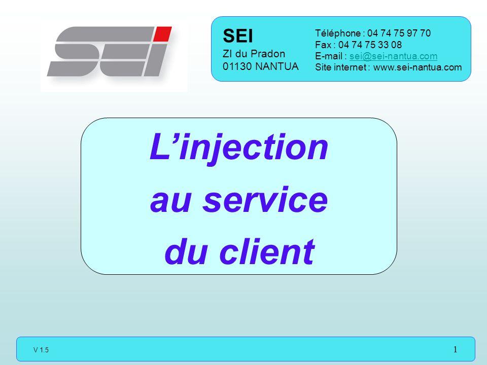 V 1.5 1 Linjection au service du client SEI ZI du Pradon 01130 NANTUA Téléphone : 04 74 75 97 70 Fax : 04 74 75 33 08 E-mail : sei@sei-nantua.comsei@sei-nantua.com Site internet : www.sei-nantua.com