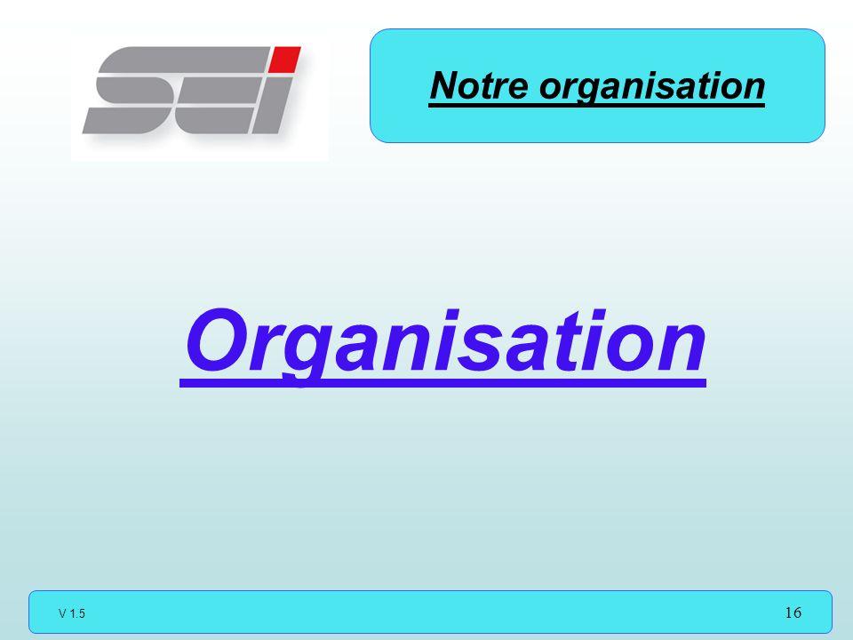 V 1.5 16 Notre organisation Organisation