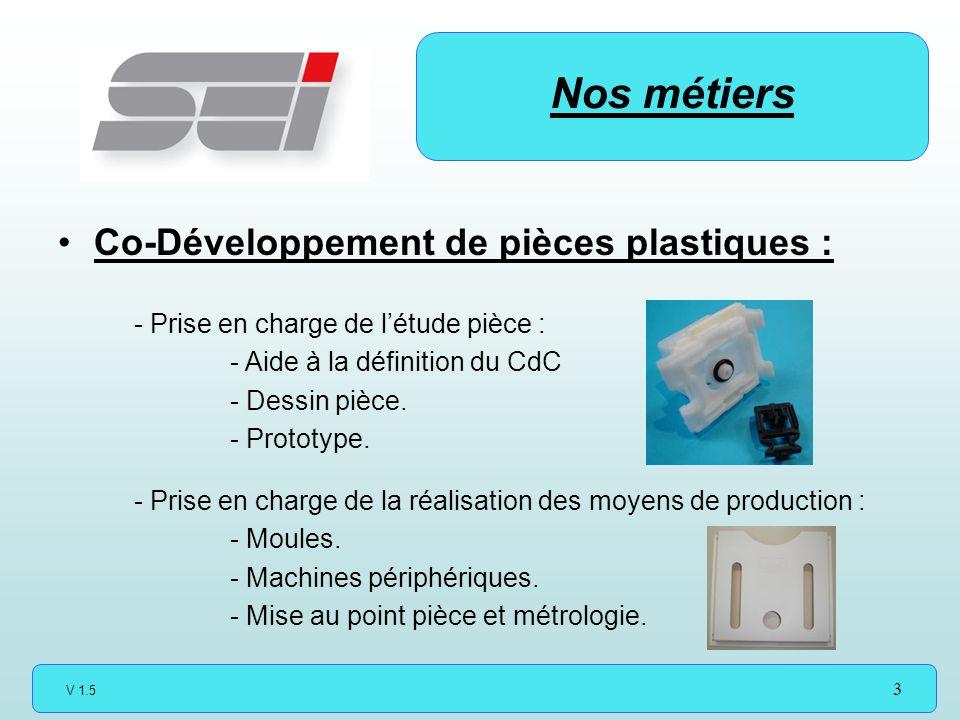 V 1.5 3 Co-Développement de pièces plastiques : Nos métiers - Prise en charge de létude pièce : - Aide à la définition du CdC - Dessin pièce.
