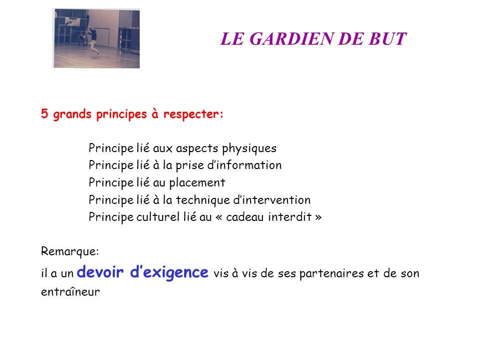 LE GARDIEN DE BUT 5 grands principes à respecter: Principe lié aux aspects physiques Principe lié à la prise dinformation Principe lié au placement Pr