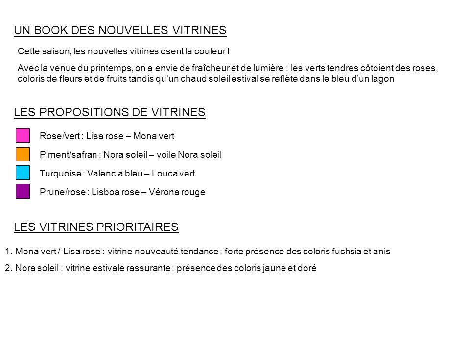 UN BOOK DES NOUVELLES VITRINES LES PROPOSITIONS DE VITRINES Prune/rose : Lisboa rose – Vérona rouge Rose/vert : Lisa rose – Mona vert Turquoise : Vale