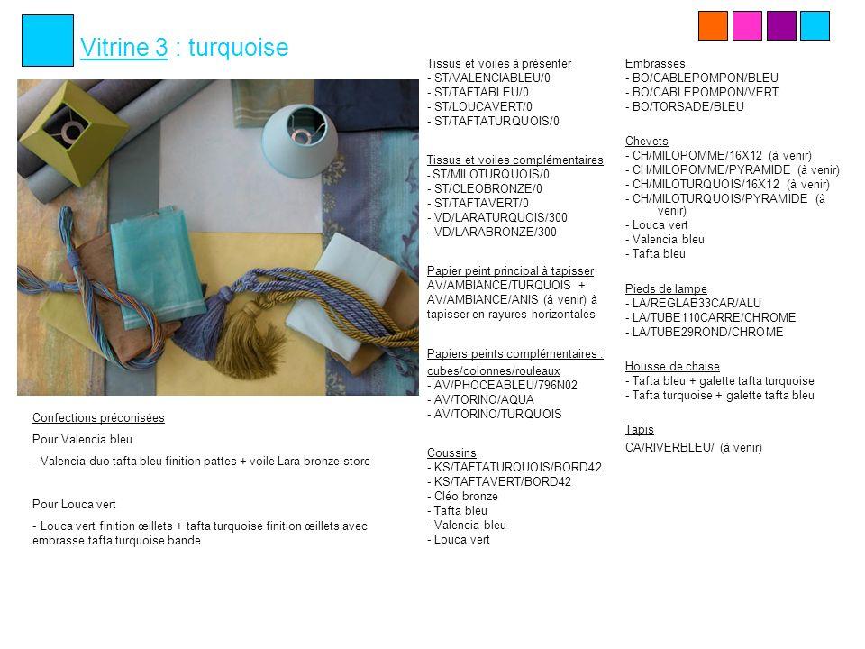 Vitrine 4 : prune/rose Tissus et voiles à présenter - GH/LISBOAROSE/300 - VD/LARAFRAMBOISE/300 - ST/VERONAROUGE/0 - ST/TAFTAPRUNE/0 Tissus et voiles complémentaires - ST/TAFTAFUCHSIA/0 - ST/TAFTATURQUOIS/0 - ST/CLEOAMETHYST/0 - VD/LARATURQUOIS/300 Papier peint principal à tapisser AV/ZORA/PRUNE + AV/ZORA/ROSE à tapisser en rayures verticales Papiers peints complémentaires : cubes/colonnes/rouleaux - AV/PANAMA/AUBERGIN - AV/TORINO/FRAMBOIS - AV/TORINO/TURQUOIS Coussins - Lisboa rose (à venir) - Vérona rouge - KS/TAFTAFUCHSIA/BORD42 - KS/CLEOAMETHYST/BORD42 - KS/TAFTAPRUNE/BORD42 - KS/TAFTATURQUOIS/BORD42 Embrasses - Eglantine fuchsia - Eglantine bordeaux - Aquarelle prune - Torsade mauve - Organza mauve - Organza bordeaux - Câblé pompon mauve Chevets - Lisboa rose (à venir) - Vérona mauve - CH/TAFTAFUCHSIA/16X12 (à venir) - CH/TAFTAFUCHSIA/PYRAMIDE (à venir) - CH/TAFTASPRUNE/16X12 - CH/TAFTASPRUNE/PYRAMIDE Pieds de lampe - LA/METALCA/NOIR - LA/TUBE110CARRE/NOIR - LA/TUBE29ROND/NOIR - LA/REGLAB33CAR/ROUILLE - LA/FORGEPETIT/NOIR Housse de chaise Tafta prune + galette Tafta fuchsia Tapis CA/ROSEBORDEAUX/… (à venir) Confections préconisées Pour Lisboa rose - Lisboa rose finition pattes + voile Lara framboise à côté finition pattes avec BO/églantine fuchsia Pour Verona rouge - Vérona rouge finition pattes + tafta prune fintion pattes (avec BO/torsade mauve) + store Lara turquoise