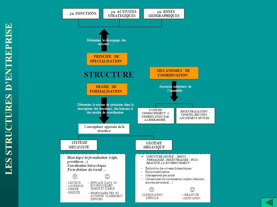 LES STRUCTURES DENTREPRISE STRUCTURE … par FONCTIONS PRINCIPE DE SPECIALISATION … par ACTIVITES STRATEGIQUES … par ZONES GEOGRAPHIQUES Détermine le dé