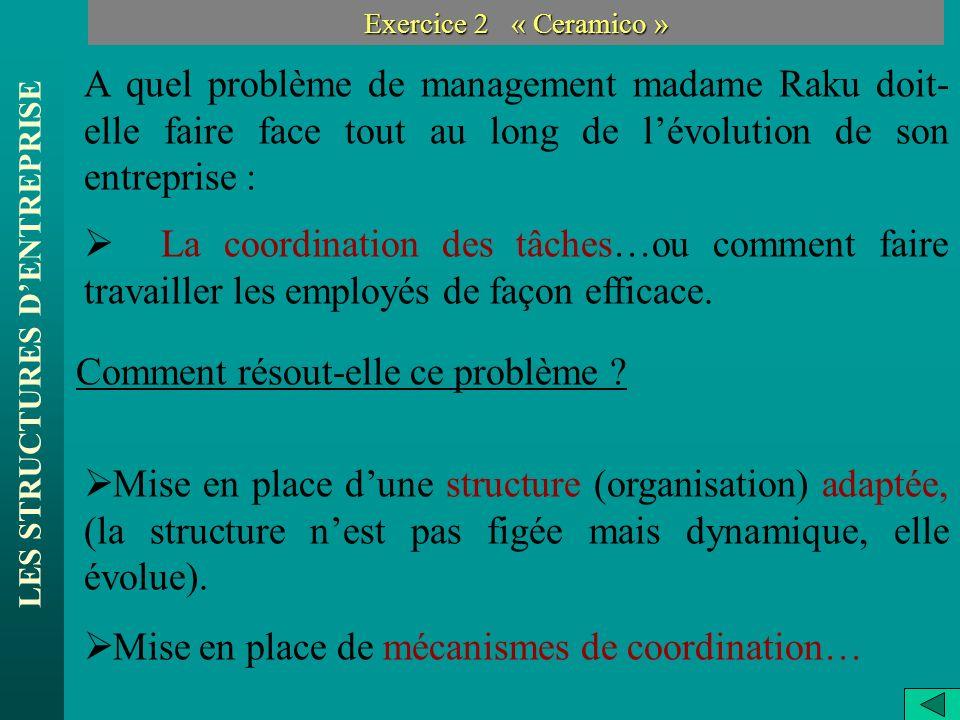 LES STRUCTURES DENTREPRISE Exercice 2 « Ceramico » A quel problème de management madame Raku doit- elle faire face tout au long de lévolution de son e