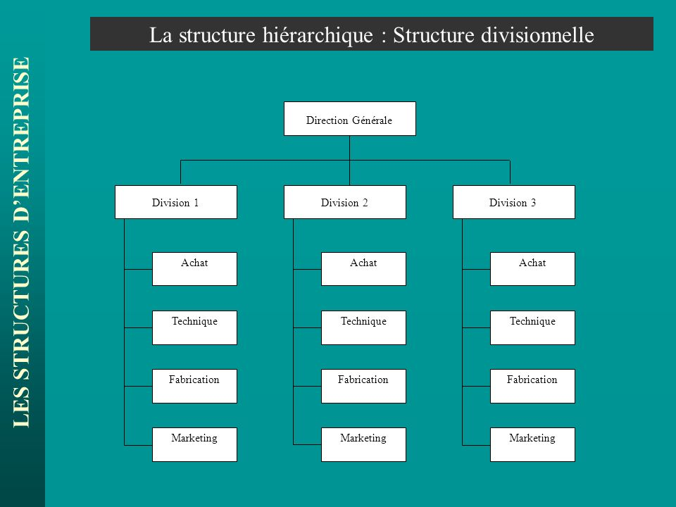 LES STRUCTURES DENTREPRISE La structure hiérarchique : Structure divisionnelle Achat Direction Générale Division 1Division 2Division 3 Achat Technique