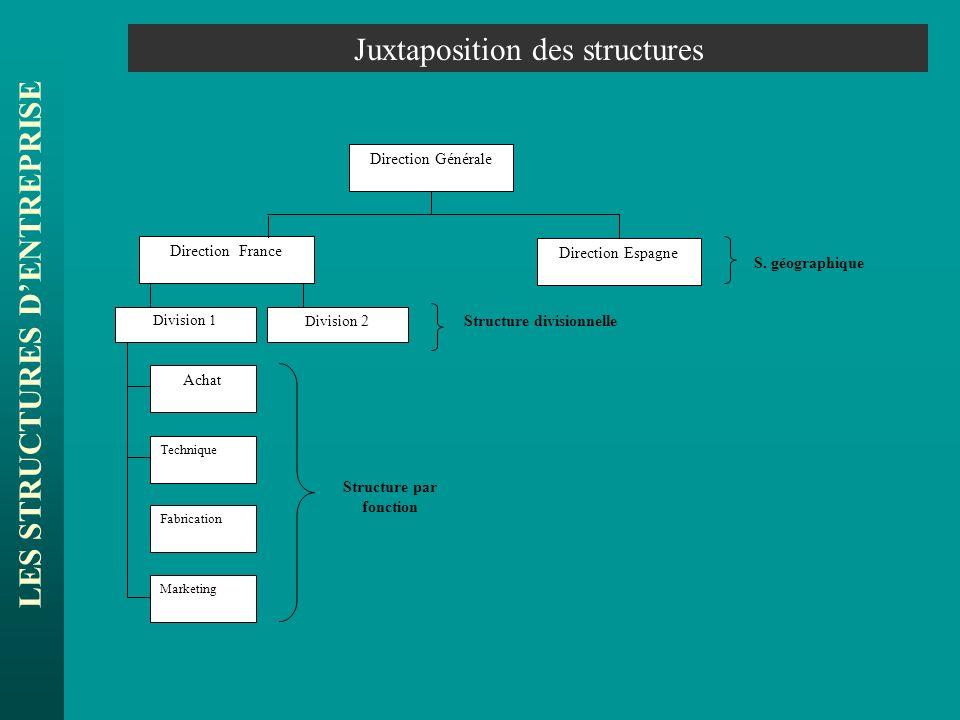 LES STRUCTURES DENTREPRISE Juxtaposition des structures Direction France Direction Espagne Direction Générale Division 1 Achat Technique Fabrication M