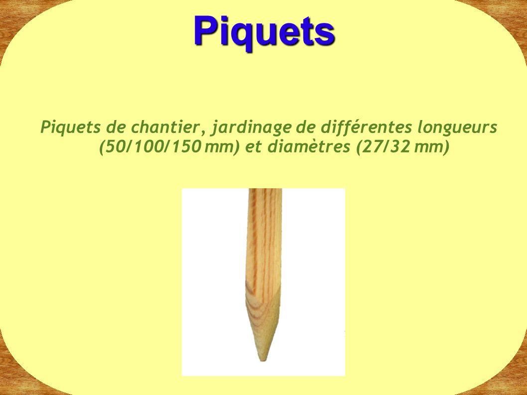 Piquets de chantier, jardinage de différentes longueurs (50/100/150 mm) et diamètres (27/32 mm) Piquets