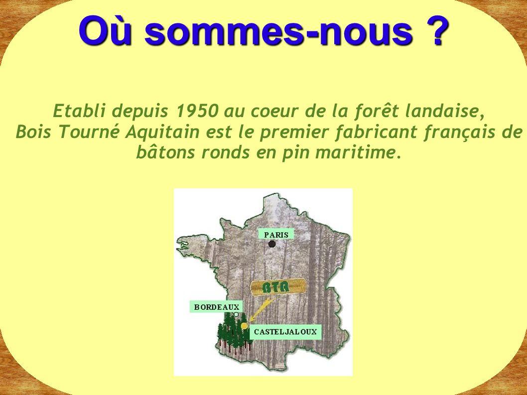 Etabli depuis 1950 au coeur de la forêt landaise, Bois Tourné Aquitain est le premier fabricant français de bâtons ronds en pin maritime. Où sommes-no