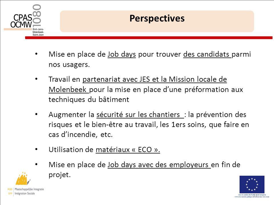 21 Perspectives Mise en place de Job days pour trouver des candidats parmi nos usagers.