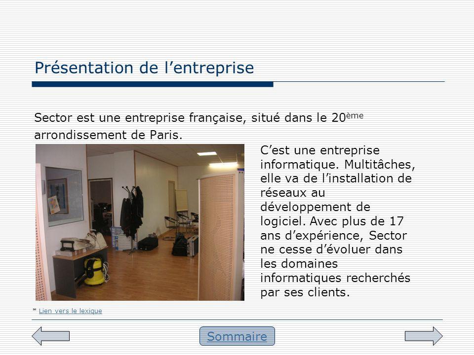 Présentation de lentreprise Sommaire Sector est une entreprise française, situé dans le 20 ème arrondissement de Paris. * Lien vers le lexiqueLien ver
