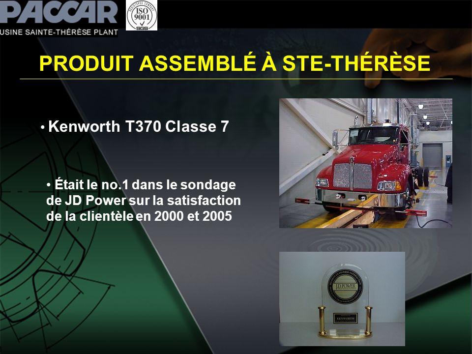 PRODUIT ASSEMBLÉ À STE-THÉRÈSE Kenworth T370 Classe 7 Était le no.1 dans le sondage de JD Power sur la satisfaction de la clientèle en 2000 et 2005