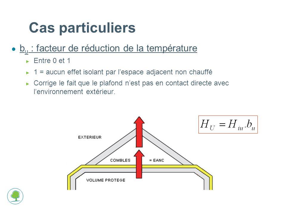 b u : facteur de réduction de la température Entre 0 et 1 1 = aucun effet isolant par lespace adjacent non chauffé Corrige le fait que le plafond nest pas en contact directe avec lenvironnement extérieur.
