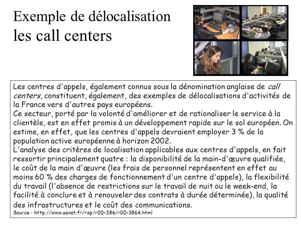 Les centres d'appels, également connus sous la dénomination anglaise de call centers, constituent, également, des exemples de délocalisations d'activi