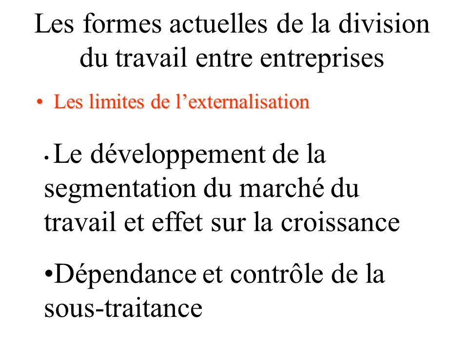 Les formes actuelles de la division du travail entre entreprises Les limites de lexternalisationLes limites de lexternalisation Le développement de la segmentation du marché du travail et effet sur la croissance Dépendance et contrôle de la sous-traitance