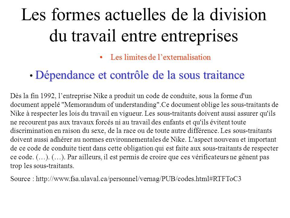 Les formes actuelles de la division du travail entre entreprises Les limites de lexternalisationLes limites de lexternalisation Dépendance et contrôle