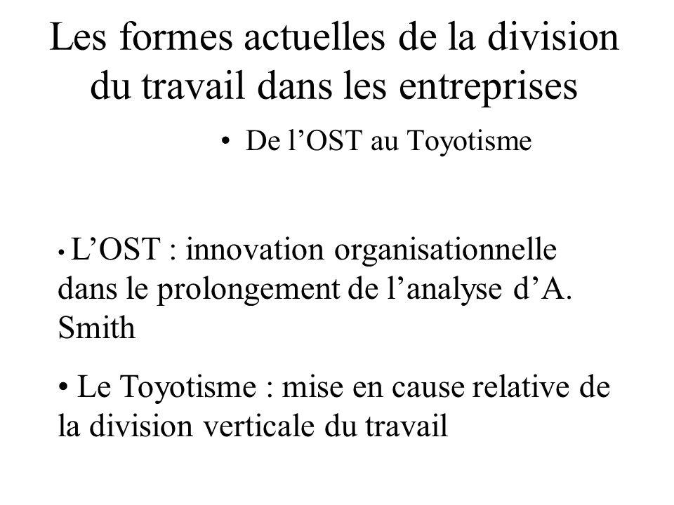 Les formes actuelles de la division du travail dans les entreprises De lOST au Toyotisme LOST : innovation organisationnelle dans le prolongement de l
