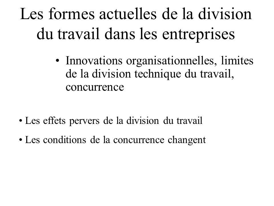 Les formes actuelles de la division du travail dans les entreprises Innovations organisationnelles, limites de la division technique du travail, concurrence Les effets pervers de la division du travail Les conditions de la concurrence changent
