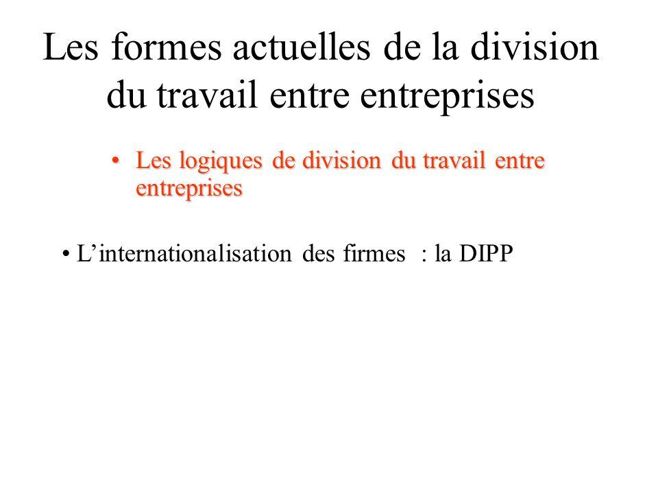 Les formes actuelles de la division du travail entre entreprises Les logiques de division du travail entre entreprisesLes logiques de division du travail entre entreprises Linternationalisation des firmes : la DIPP