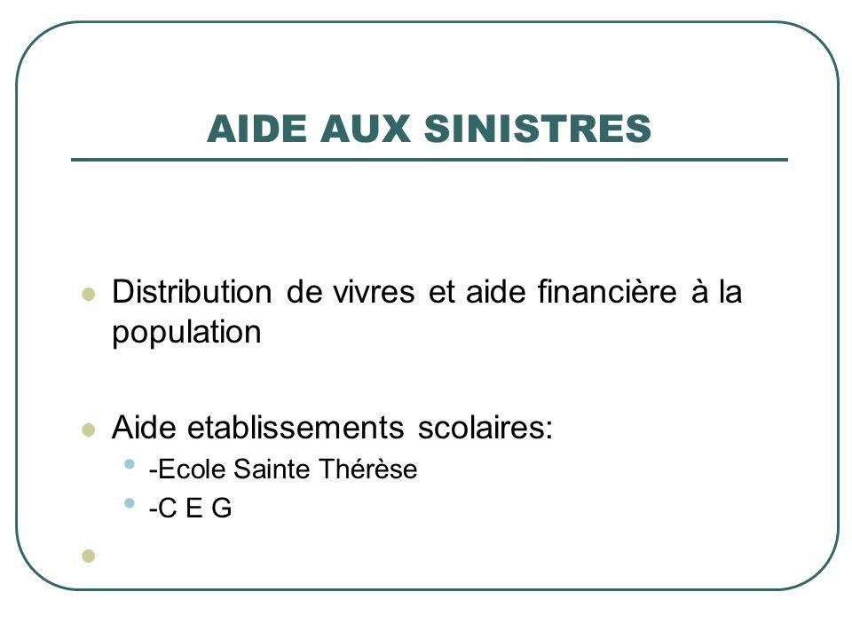AIDE AUX SINISTRES Distribution de vivres et aide financière à la population Aide etablissements scolaires: -Ecole Sainte Thérèse -C E G