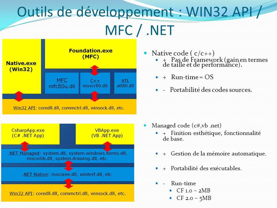 Outils de développement : WIN32 API / MFC /.NET Native code ( c/c++) + Pas de Framework (gain en termes de taille et de performance). +Run-time = OS -